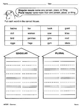 Singular and Plural Nouns (CCSS L.1.1c)