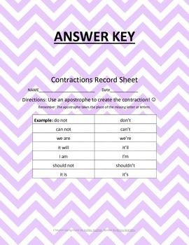 CCSS L.2.2c Contractions Record Sheet