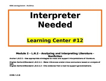 CCSS Learning Centers - Nonfiction