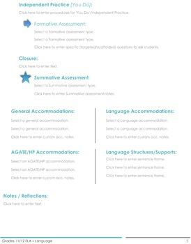 CCSS Lesson Plan Template - 11th/12th Grade ELA - Language
