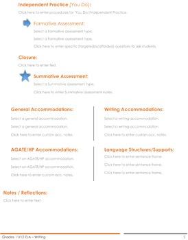 CCSS Lesson Plan Template - 11th/12th Grade ELA - Writing
