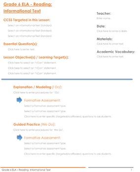 CCSS Lesson Plan Template - 6th Grade ELA Bundle