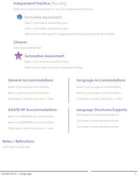 CCSS Lesson Plan Template - 6th Grade ELA - Language