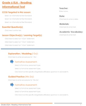 CCSS Lesson Plan Template - 6th Grade ELA - Reading Informational Text