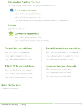 CCSS Lesson Plan Template - 6th Grade ELA - Speaking and Listening