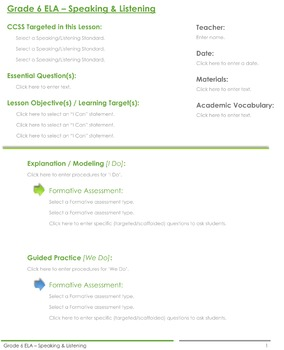 CCSS Lesson Plan Template - 6th Grade Speaking and Listening