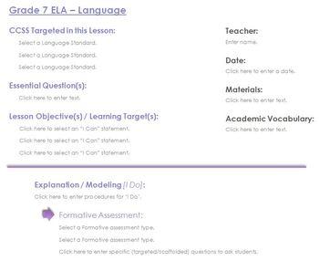 CCSS Lesson Plan Template - 7th Grade ELA - Language