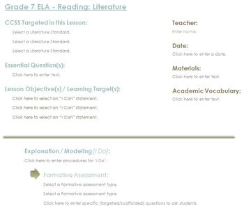 CCSS Lesson Plan Template - 7th Grade ELA - Reading Literature