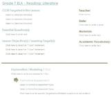 CCSS Lesson Plan Template - 7th Grade ELA - Reading Literature