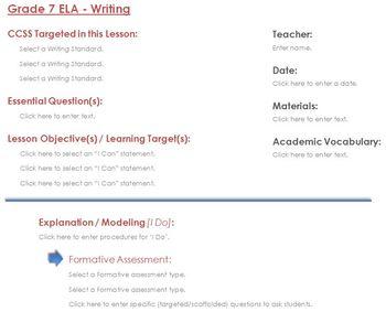 CCSS Lesson Plan Template - 7th Grade ELA - Writing