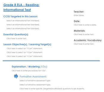 CCSS Lesson Plan Template - 8th Grade ELA - Reading: Informational Text