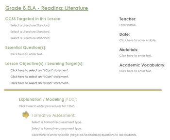 CCSS Lesson Plan Template - 8th Grade ELA - Reading: Literature