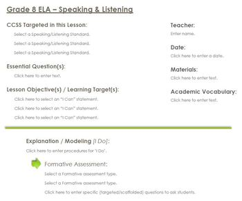CCSS Lesson Plan Template - 8th Grade ELA - Speaking and Listening