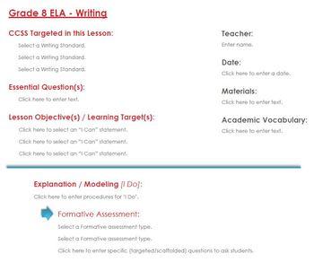 CCSS Lesson Plan Template - 8th Grade ELA - Writing