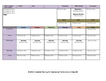 CCSS Lesson Plan Template 8th Grade Math Teacher Keys