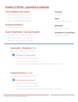 CCSS Lesson Plan Template - 9th/10th Grade ELA - Speaking and Listening