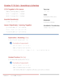 CCSS Lesson Plan Template - 9th/10th Grade ELA - Speaking