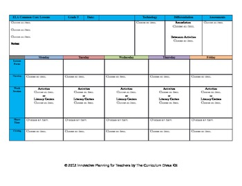 CCSS Lesson Plan Template Fifth Grade All Subjects - GA Sc