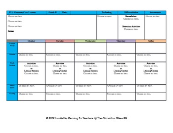 CCSS Lesson Plan Template Kindergarten All Subjects by The ...