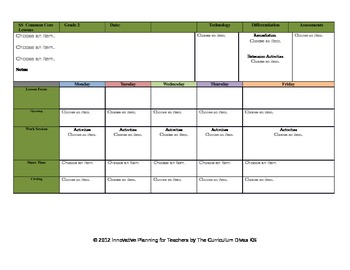 CCSS Lesson Plan Template Second Grade All Subjects-- GA Science included