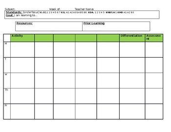 CCSS Lesson Plan template (editable)
