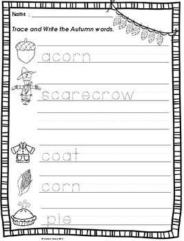 Literacy Autumn Activities for First Grade and Second Grade