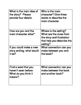 CCSS Literacy Circle Questions for Primary Grades