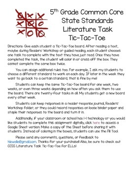 CCSS Literature Task Free Choice Tic-Tac-Toe (Digital Version Included!)
