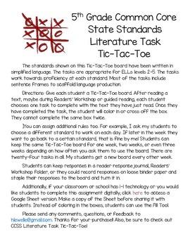 CCSS Literature Task Tic-Tac-Toe FOR ELLs! (Digital Version Included!)
