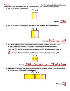 CCSS.MATH.CONTENT.5.NF.B.7a &b Quizzes and Answer Keys