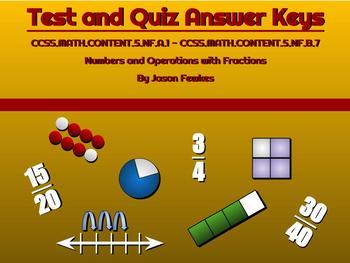 CCSS.MATH.CONTENT.5.NF.A.1-CCSS.MATH.CONTENT.5.NF.B.7 Test & Quiz Answer Keys