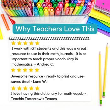 GRADES 3 - 5  MATH VOCABULARY BUNDLE  - TEACHER TOOLS & DICTIONARY