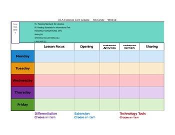 CCSS Mac Version TKES Lesson Plan Template Fifth Grade -GA