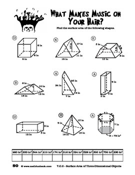 CCSS Math 7.G.6 - Surface Area of Three-Dimensional Objects