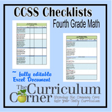 CCSS Math Checklists 4th Grade Fully Editable Excel Document