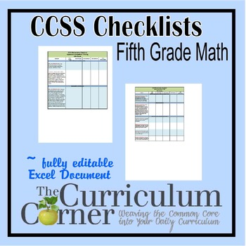 CCSS Math Checklists 5th Grade Fully Editable Excel Document
