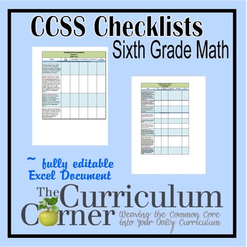 CCSS Math Checklists 6th Grade Fully Editable Excel Document