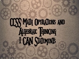 CCSS Math & ELA I Can Statements Bundle- Steampunk with gears