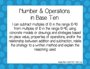 CCSS Math First Grade I Can Posters with Polka Dots