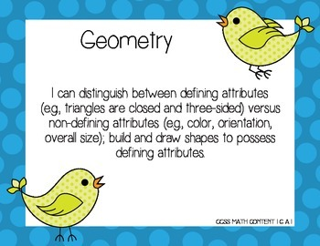 CCSS Math First Grade I can Posters with Birds