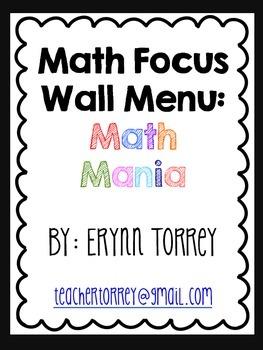 Fun CCSS Math Games: Focus Wall Math Menu (Kindergarten)