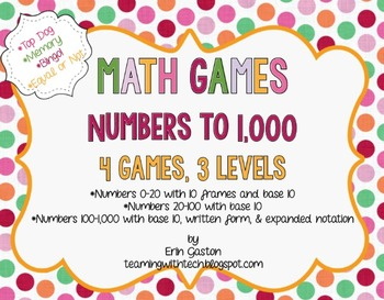 CCSS 2nd Grade Math Games & Stations Numbers to 1,000