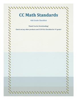 CCSS Math Grade 4 Checklist