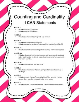 CCSS Math Kindergarten Counting and Cardinality