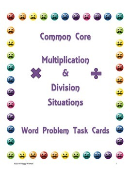 CCSS Math Multiplication & Division Task Cards