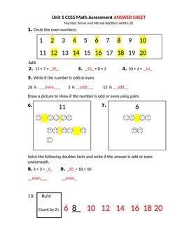 CCSS Math Number Sense and mental addition assessment