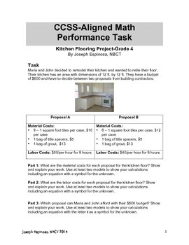 CCSS Math Performance Task: Kitchen Flooring Project-4th Grade