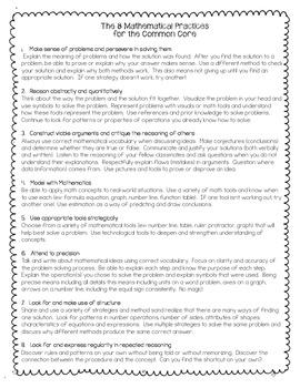 CCSS Math Practices Descriptions {kid-friendly language} FREEBIE