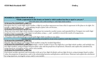 CCSS Math Standards Grade 4
