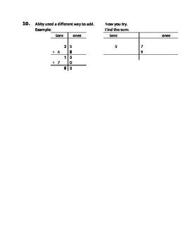 CCSS Math assessment addition using place value